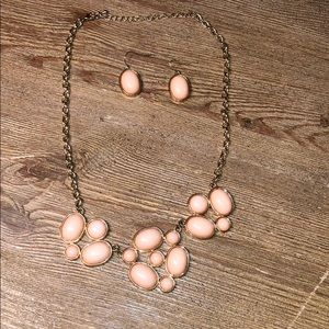 Pink and gold necklace with matching earrings